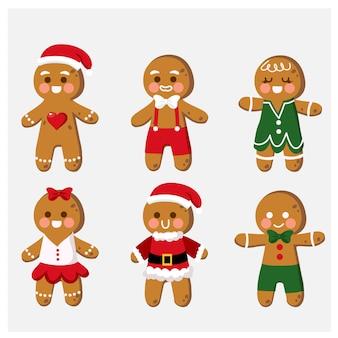 Verzameling van cute cartoon gingerbread man cookies illustraties
