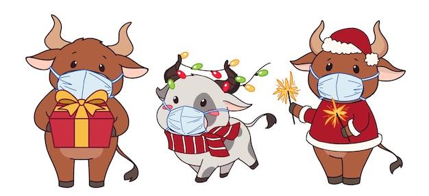 Verzameling van cute cartoon koeien medische masker en kerstkostuum dragen.