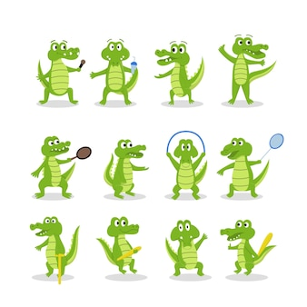 Verzameling van cute cartoon krokodillen