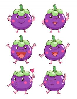 Verzameling van cute cartoon mangostans in verschillende poses.