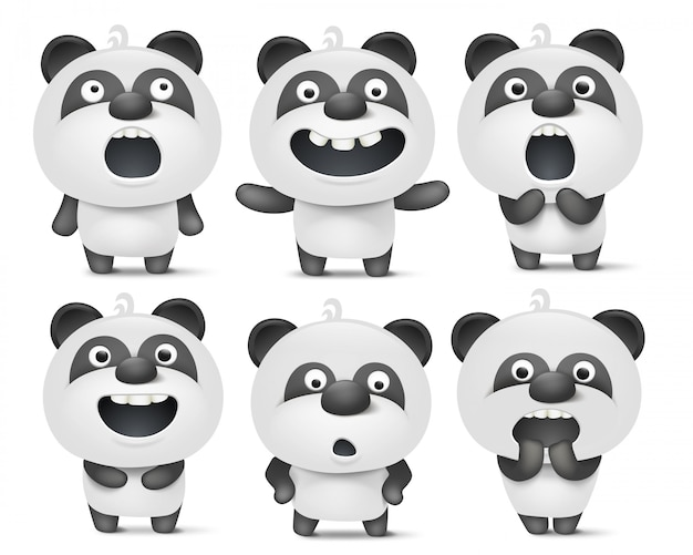 Verzameling van cute cartoon panda tekens met verschillende emoties