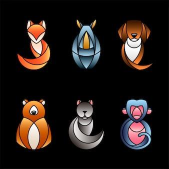Verzameling van cute dieren design vectoren