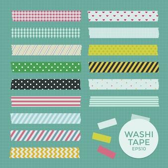 Verzameling van cute patterned washi tape strips