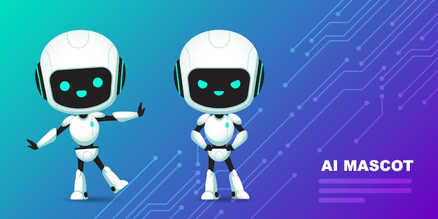 Verzameling van cute robot ai karakter met circuits achtergrond