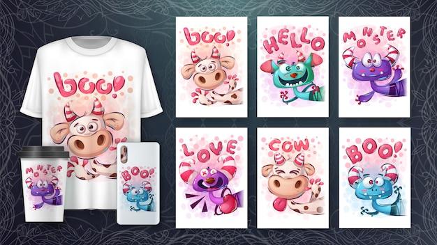 Verzameling van cute tekens tekenen voor poster en merchandising