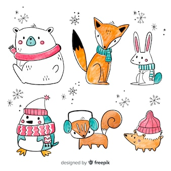Verzameling van cute winter animales