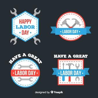 Verzameling van dag van de arbeid badges platte ontwerp