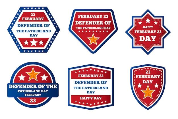 Verzameling van de dagbadges van de vaderlandverdediger