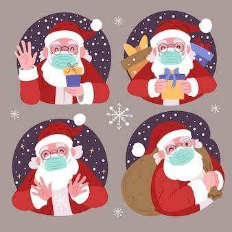 Verzameling van de kerstman die gezichtsmasker draagt