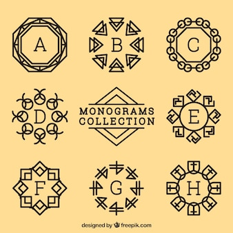 Verzameling van decoratief monogram in vintage stijl