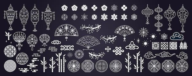 Verzameling van decoratieve aziatische elementen
