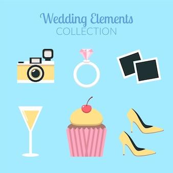 Verzameling van decoratieve huwelijkselementen in plat ontwerp