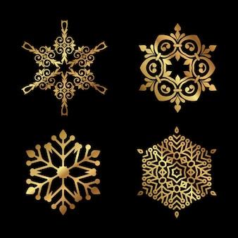 Verzameling van decoratieve kerst sneeuwvlokken ontwerpen