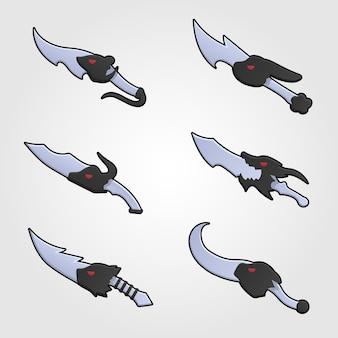Verzameling van decoratiewapen voor games. set zilveren cartoon messen.