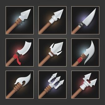 Verzameling van decoratiewapen voor games. set zilveren wapens.