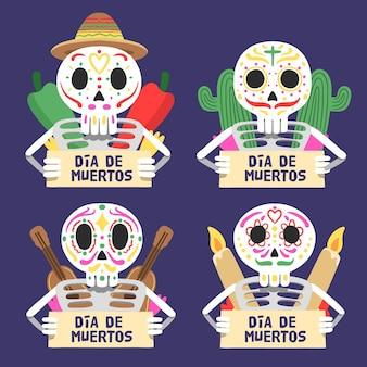 Verzameling van dia de muertos-badge in plat ontwerp