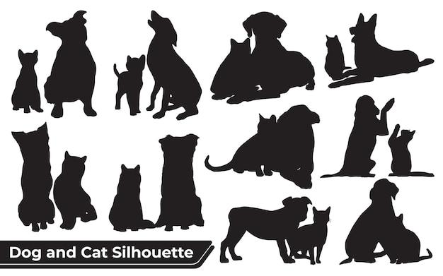 Verzameling van dieren hond en kat in verschillende posities