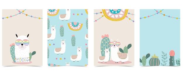 Verzameling van dierlijke achtergrond set met lama cactusbloem Premium Vector