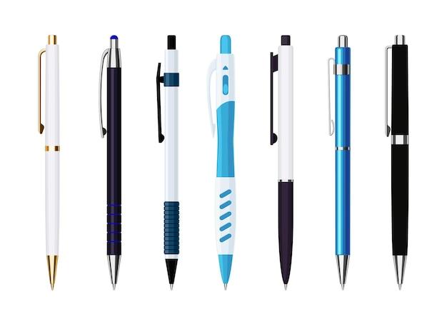 Verzameling van diverse automatische veerbalpennen. collectie van school- of kantoorhulpmiddelen. platte vectorillustratie geïsoleerd op een witte achtergrond