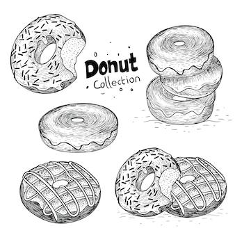 Verzameling van donut in de hand getekend