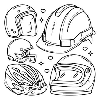 Verzameling van doodles van verschillende soorten helmen