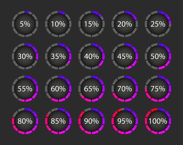 Verzameling van downloads in procenten. voortgangscirkel laden. elementen