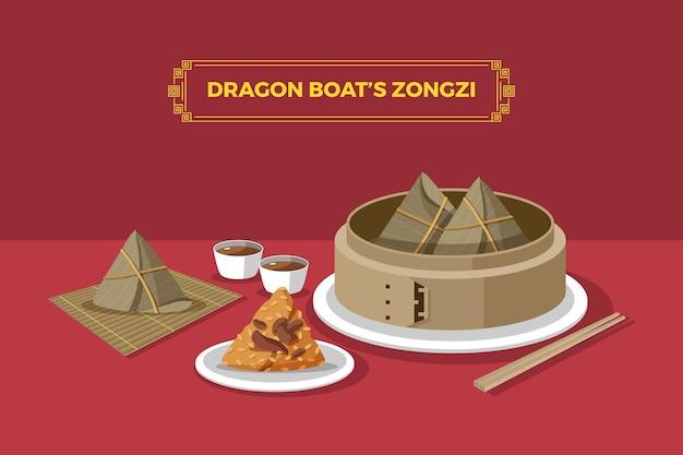 Verzameling van drakenboot zongzi