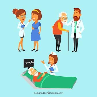 Verzameling van drie artsen met patiënten