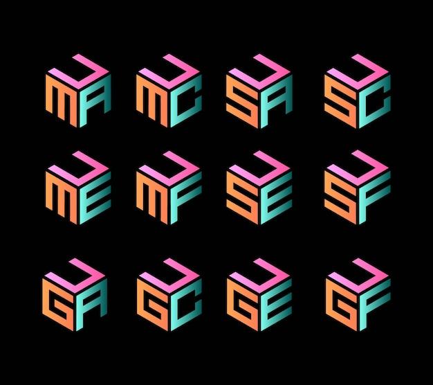 Verzameling van drie letters zeshoekige vorm
