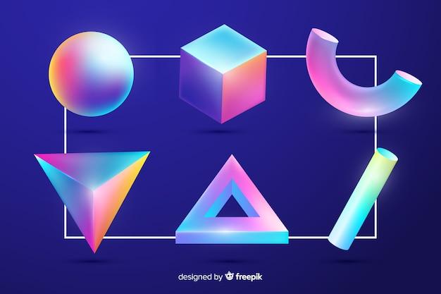 Verzameling van driedimensionale geometrische vormen