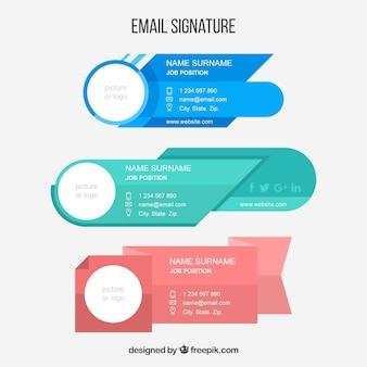 Verzameling van e-mailhandtekeningen in vlakke stijl