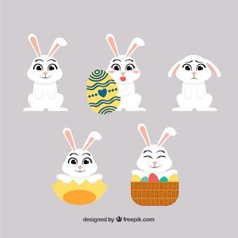 Verzameling van easter bunnies Gratis Vector