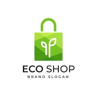 Verzameling van eco tas logo ontwerpsjabloon