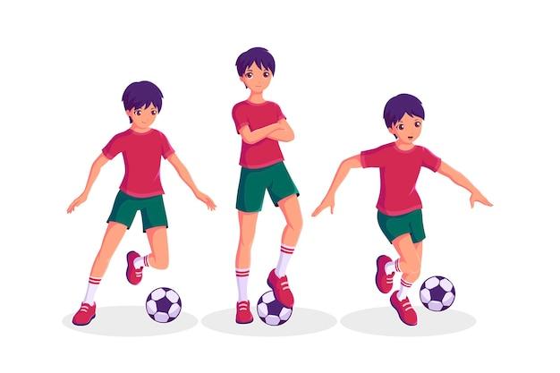 Verzameling van een jongen die voetballen in verschillende acties