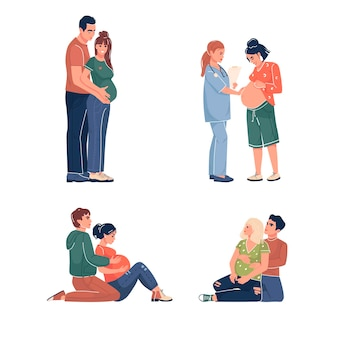 Verzameling van een zwangere vrouw een afspraak met een arts in een cursus voor zwangere zwangerschap vector