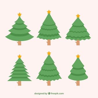 Verzameling van eenvoudige kerstbomen in verschillende vormen