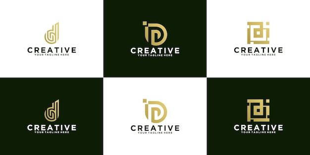 Verzameling van eerste letter d-logo-ontwerpen eenvoudig modern ontwerp