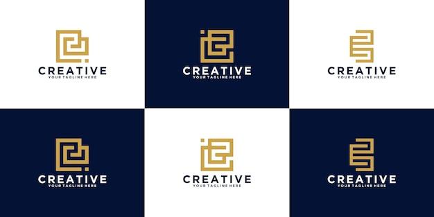 Verzameling van eerste letter e-logo's voor mode- en adviesbedrijven