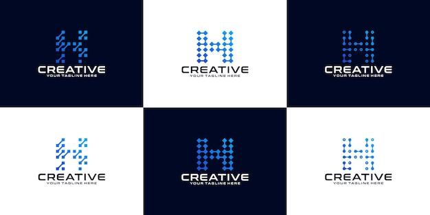 Verzameling van eerste letter h-logo's voor bedrijven, gegevens, technologie