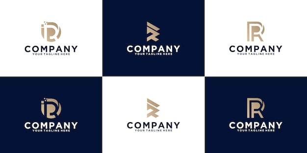 Verzameling van eerste letter r-logo-ontwerpen voor bedrijven en mode