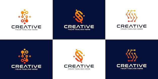 Verzameling van eerste letter s-logo's, technologiebrieven s