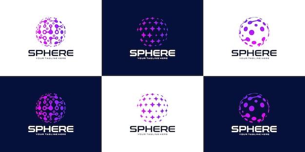 Verzameling van elegante en moderne technologie wereldbol logo ontwerp inspiratie