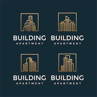 Verzameling van elegante gebouwlogo-ontwerpen met lijnconcepten