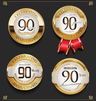 Verzameling van elegante gouden verjaardag achtergrond