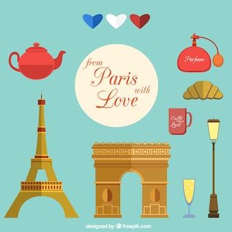 Verzameling van elementen van parijs met liefde