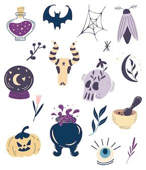 Verzameling van elementen voor halloween. grote heks magische ontwerpset.