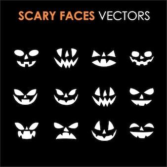 Verzameling van enge gezichten zonder lichaam geschikt voor het afdrukken van doe-het-zelfprojecten