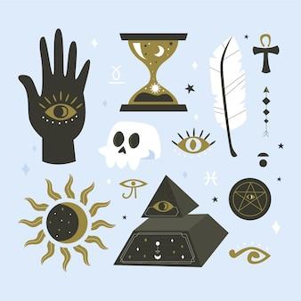 Verzameling van esoterische elementen Gratis Vector