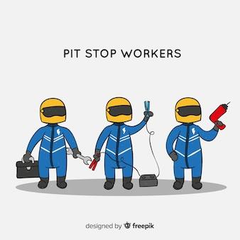 Verzameling van f1 pitstoparbeiders