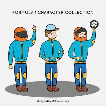 Verzameling van f1 race karakters